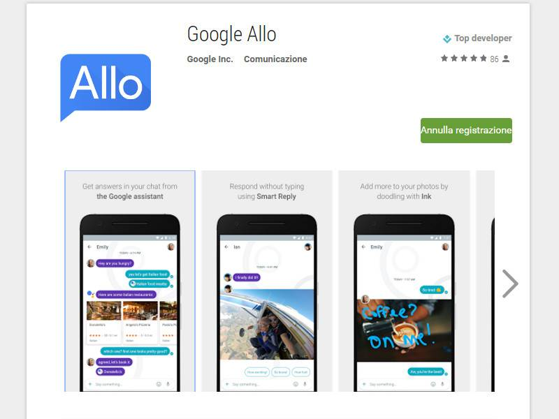 Google Allo su Play Store